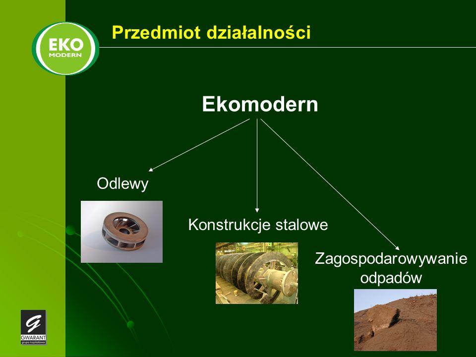 Przedmiot działalności Odlewy Zagospodarowywanie odpadów Konstrukcje stalowe Ekomodern
