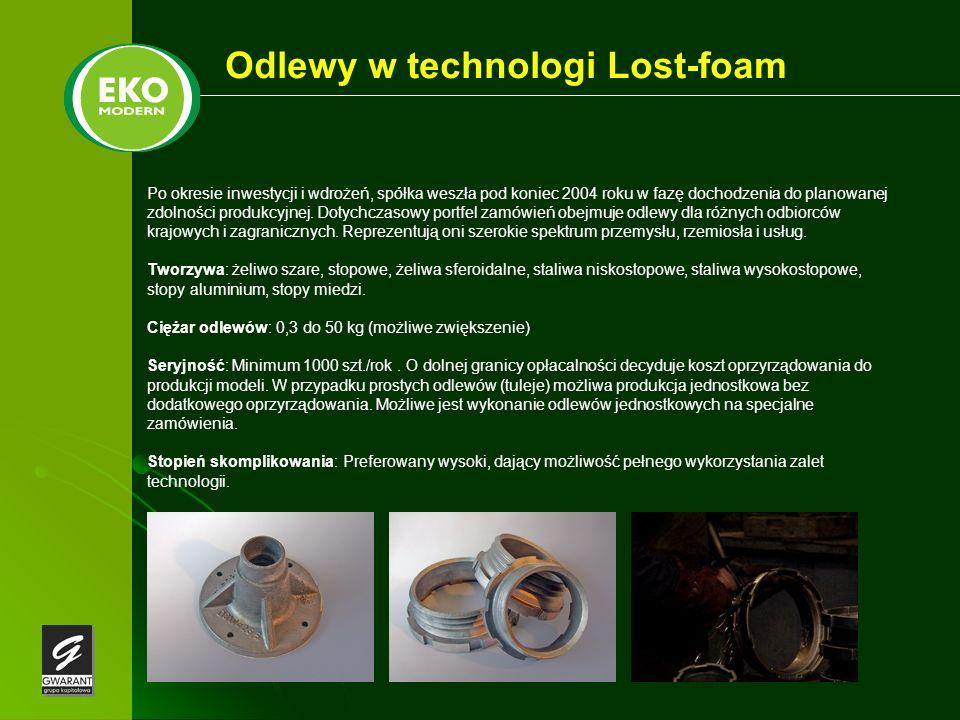 Odlewy w technologi Lost-foam Po okresie inwestycji i wdrożeń, spółka weszła pod koniec 2004 roku w fazę dochodzenia do planowanej zdolności produkcyj