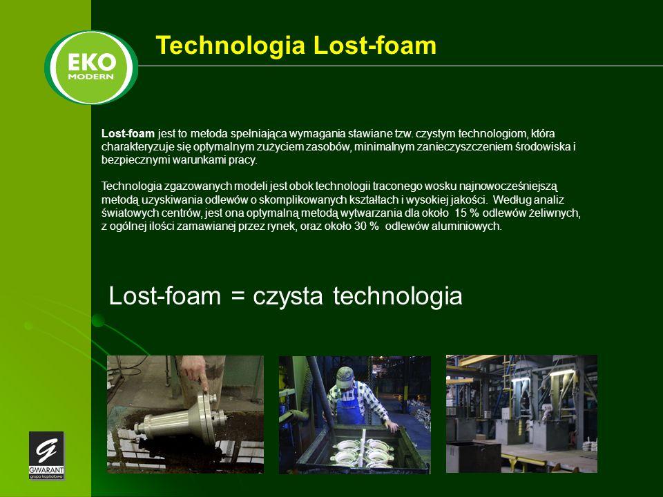 Technologia Lost-foam Lost-foam jest to metoda spełniająca wymagania stawiane tzw. czystym technologiom, która charakteryzuje się optymalnym zużyciem