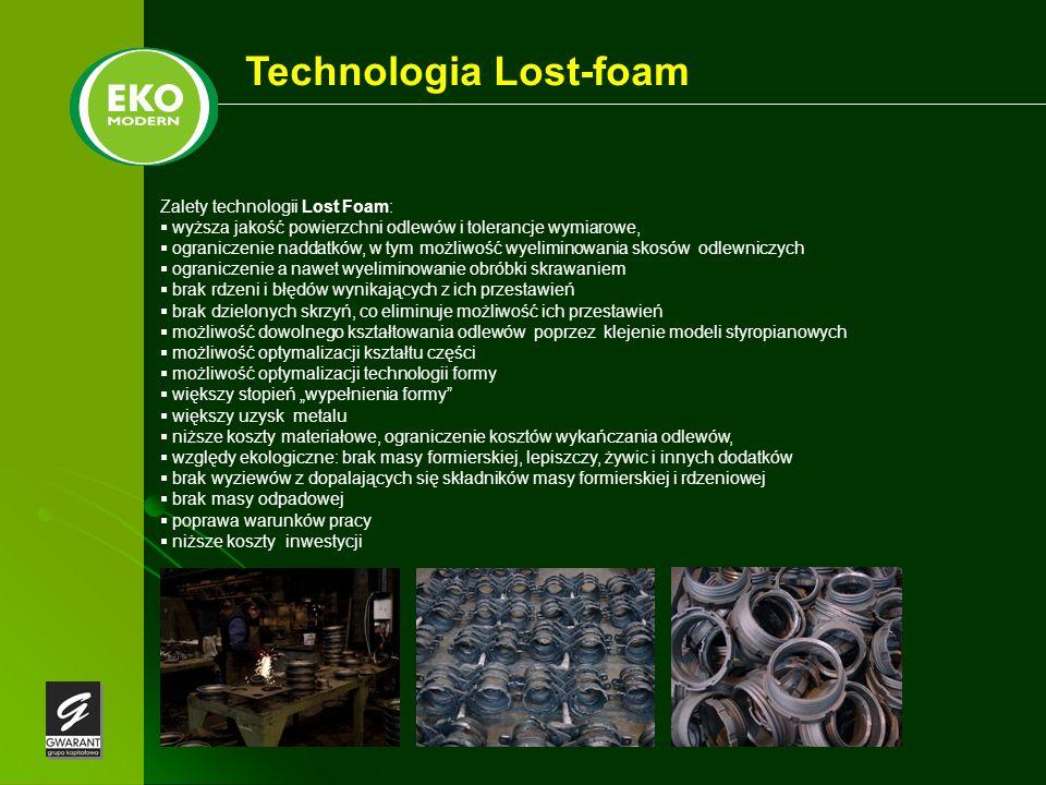 Technologia Lost-foam Zalety technologii Lost Foam: wyższa jakość powierzchni odlewów i tolerancje wymiarowe, ograniczenie naddatków, w tym możliwość