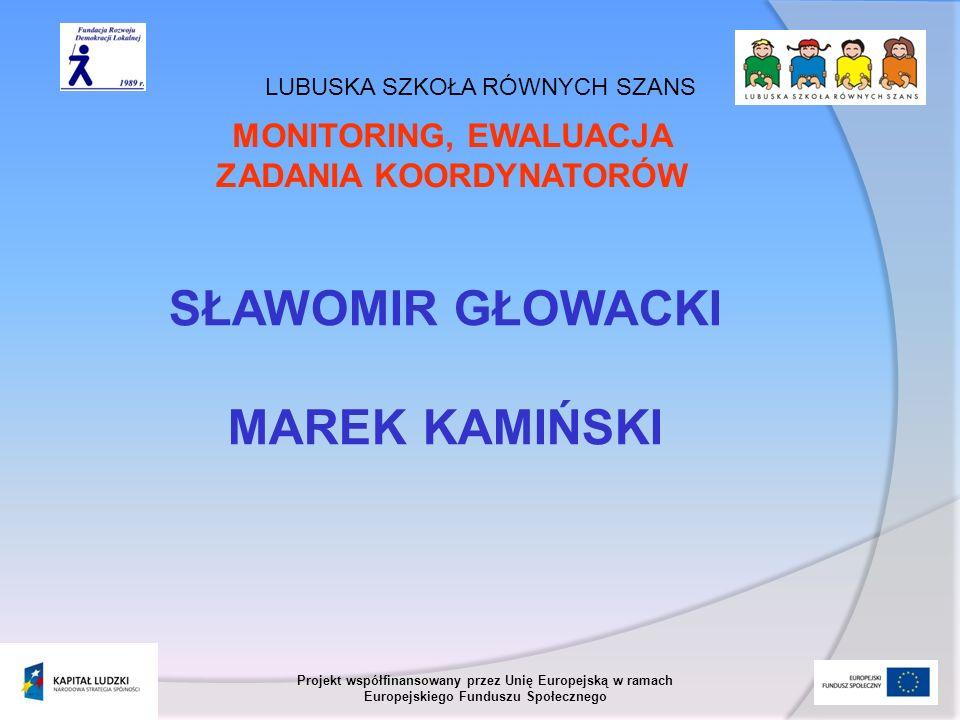 LUBUSKA SZKOŁA RÓWNYCH SZANS Projekt współfinansowany przez Unię Europejską w ramach Europejskiego Funduszu Społecznego MONITORING A EWALUACJA MONITORING Okresowa oraz stała ocena efektów realizacji projektu w trakcie jego realizacji.