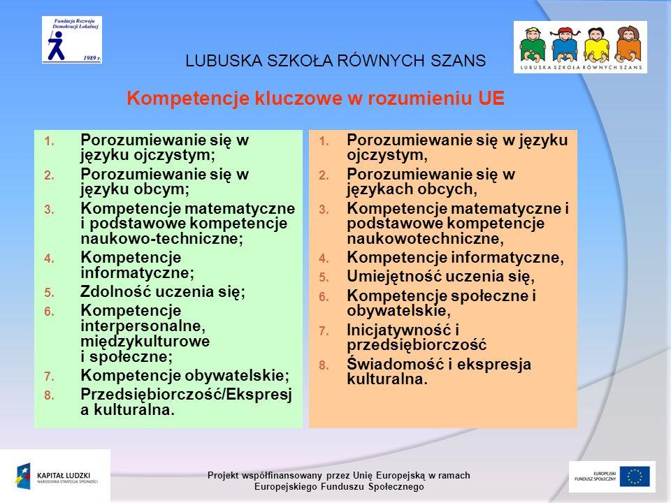 LUBUSKA SZKOŁA RÓWNYCH SZANS Projekt współfinansowany przez Unię Europejską w ramach Europejskiego Funduszu Społecznego 1. Porozumiewanie się w języku