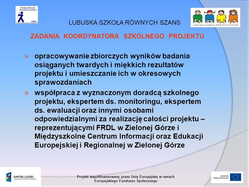 LUBUSKA SZKOŁA RÓWNYCH SZANS Projekt współfinansowany przez Unię Europejską w ramach Europejskiego Funduszu Społecznego ZADANIA KOORDYNATORA SZKOLNEGO