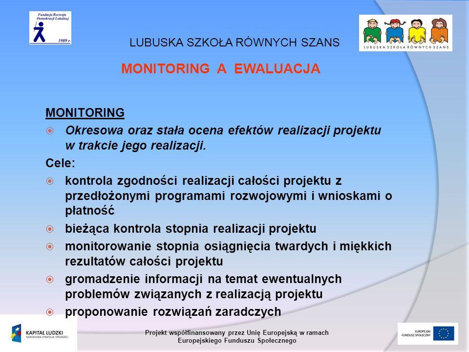 LUBUSKA SZKOŁA RÓWNYCH SZANS Projekt współfinansowany przez Unię Europejską w ramach Europejskiego Funduszu Społecznego MONITORING A EWALUACJA MONITOR
