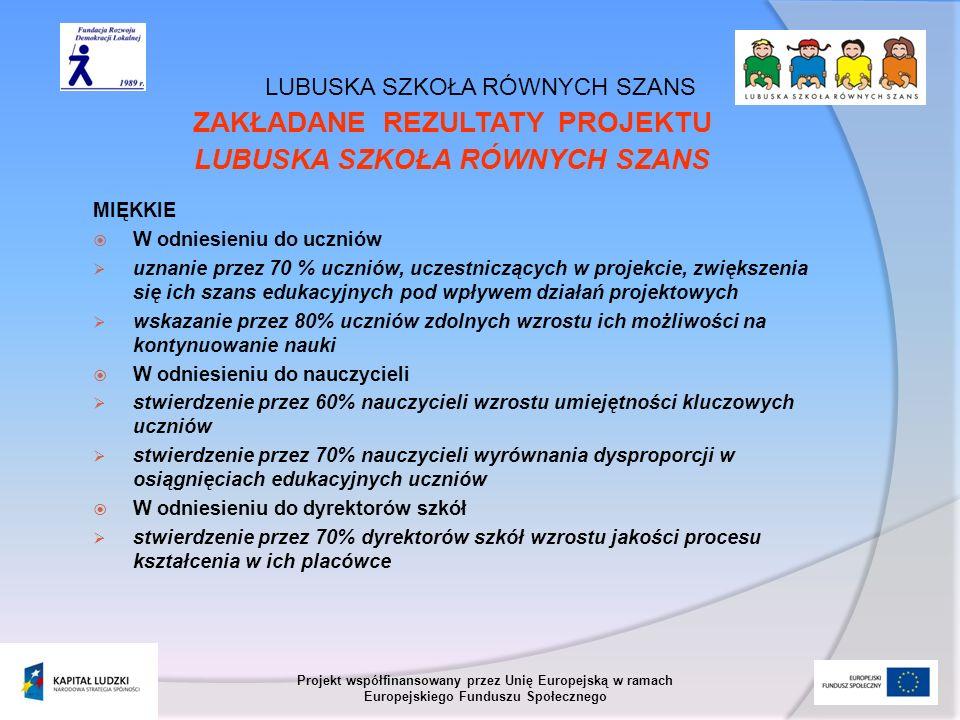 LUBUSKA SZKOŁA RÓWNYCH SZANS Projekt współfinansowany przez Unię Europejską w ramach Europejskiego Funduszu Społecznego ZAKŁADANE REZULTATY PROJEKTU L