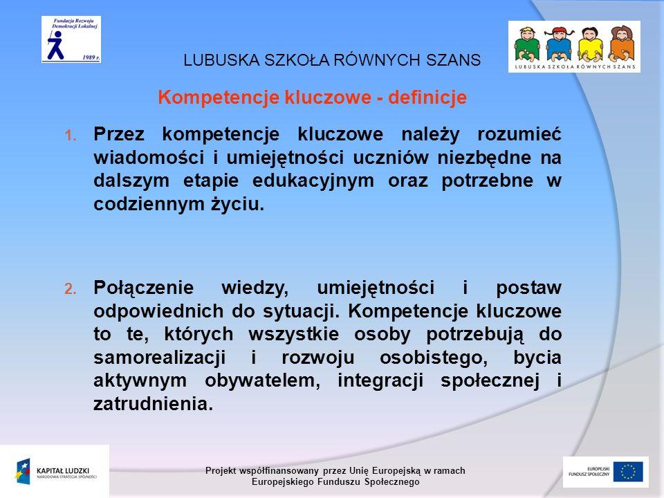 LUBUSKA SZKOŁA RÓWNYCH SZANS Projekt współfinansowany przez Unię Europejską w ramach Europejskiego Funduszu Społecznego Kompetencje kluczowe - definic