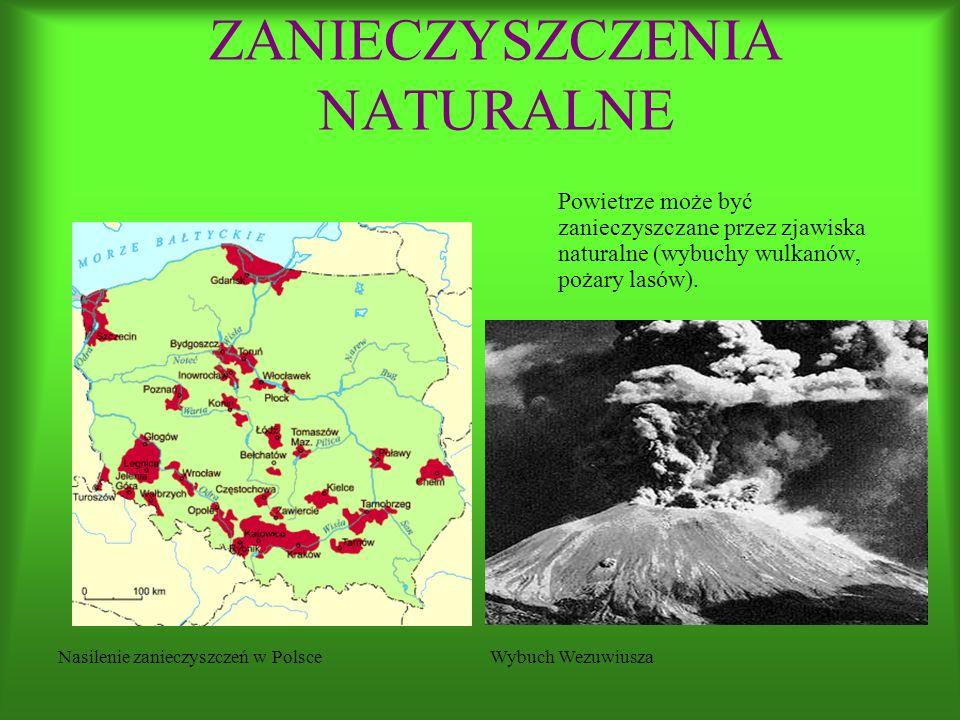 Powietrze może być zanieczyszczane przez zjawiska naturalne (wybuchy wulkanów, pożary lasów).