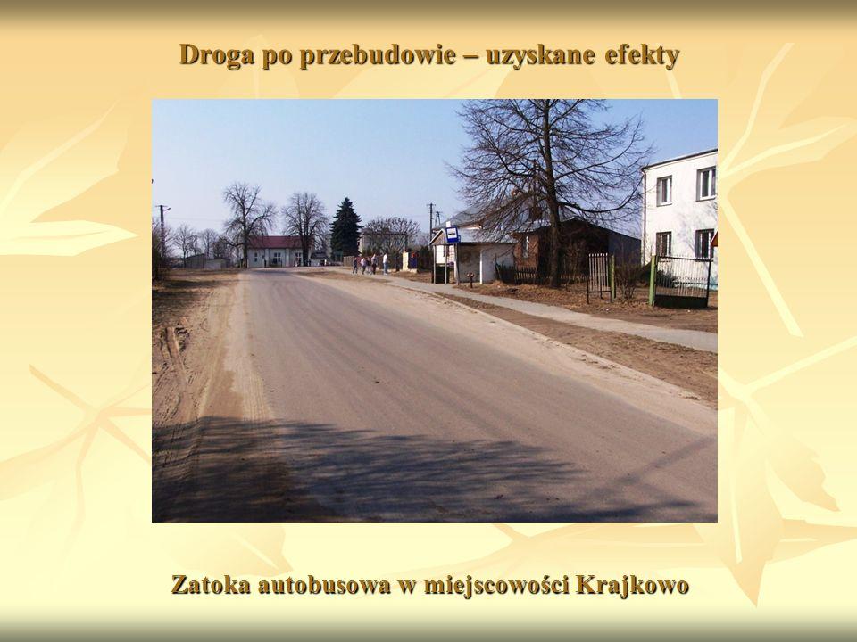 Droga po przebudowie – uzyskane efekty Zatoka autobusowa w miejscowości Krajkowo