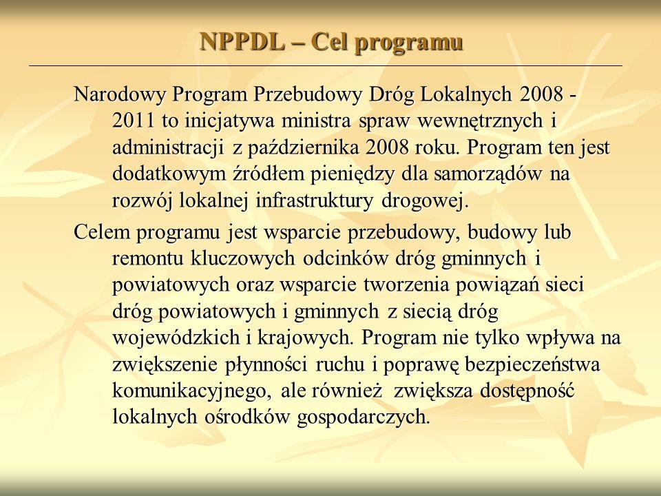 NPPDL – Cel programu Narodowy Program Przebudowy Dróg Lokalnych 2008 - 2011 to inicjatywa ministra spraw wewnętrznych i administracji z października 2