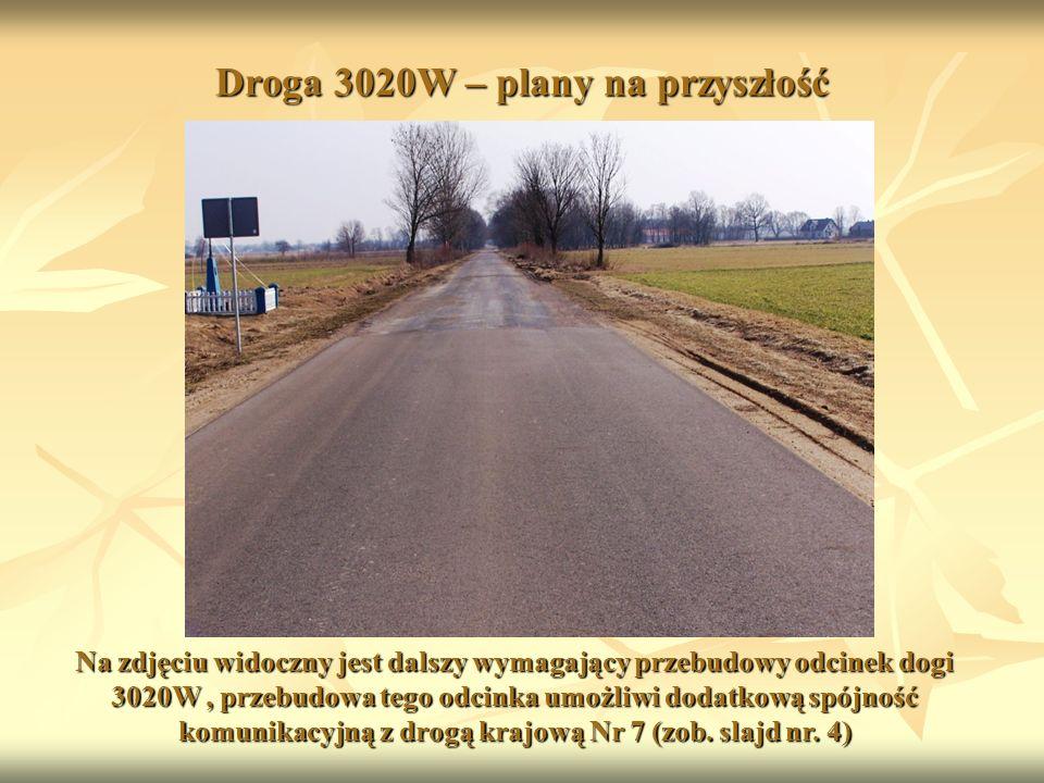 Droga 3020W – plany na przyszłość Na zdjęciu widoczny jest dalszy wymagający przebudowy odcinek dogi 3020W, przebudowa tego odcinka umożliwi dodatkową spójność komunikacyjną z drogą krajową Nr 7 (zob.