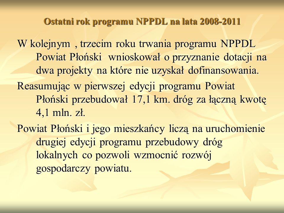 Ostatni rok programu NPPDL na lata 2008-2011 W kolejnym, trzecim roku trwania programu NPPDL Powiat Płoński wnioskował o przyznanie dotacji na dwa projekty na które nie uzyskał dofinansowania.