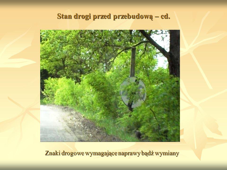 Stan drogi przed przebudową – cd. Znaki drogowe wymagające naprawy bądź wymiany