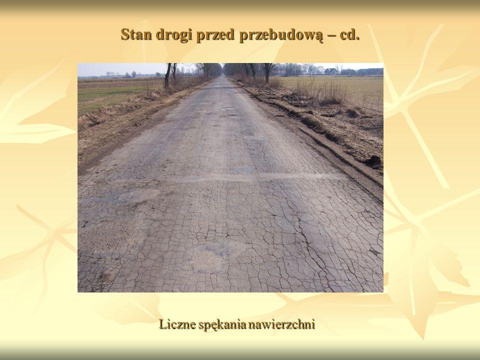Stan drogi przed przebudową – cd. Liczne spękania nawierzchni