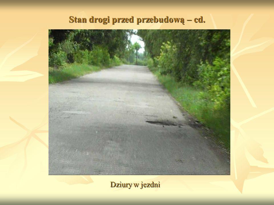 Stan drogi przed przebudową – cd. Dziury w jezdni