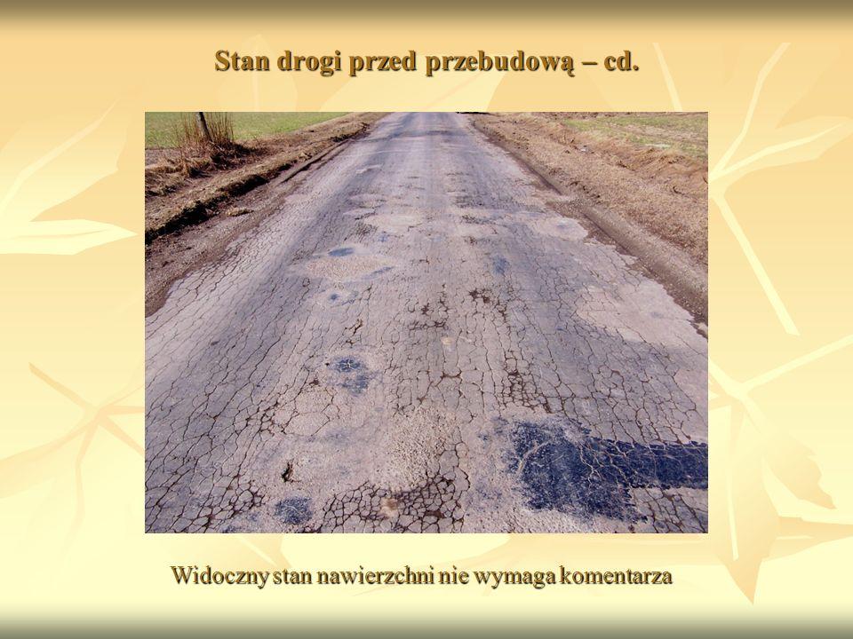 Stan drogi przed przebudową – cd. Widoczny stan nawierzchni nie wymaga komentarza