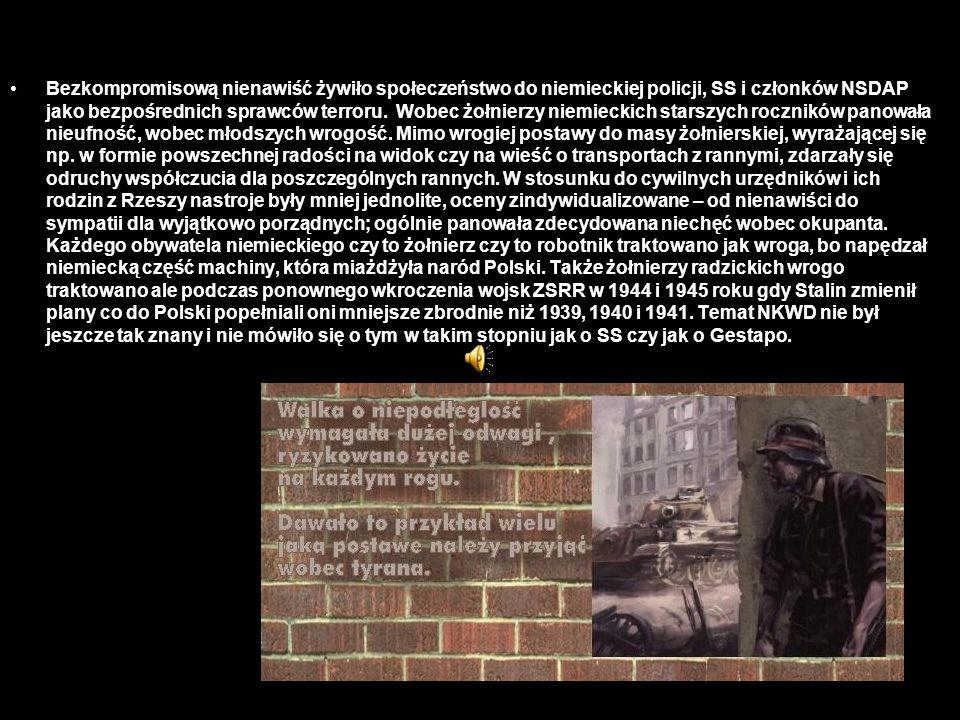 Bezkompromisową nienawiść żywiło społeczeństwo do niemieckiej policji, SS i członków NSDAP jako bezpośrednich sprawców terroru. Wobec żołnierzy niemie