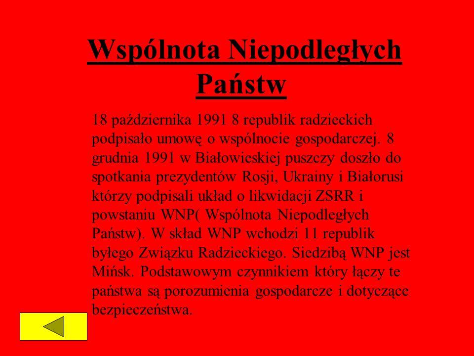 Wspólnota Niepodległych Państw 18 października 1991 8 republik radzieckich podpisało umowę o wspólnocie gospodarczej. 8 grudnia 1991 w Białowieskiej p