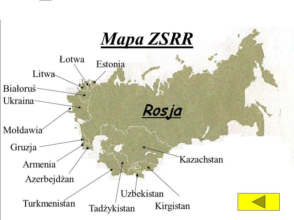 Mapa ZSRR Kazachstan Ukraina Białoruś Litwa Łotwa Estonia Mołdawia Gruzja Armenia Azerbejdżan Turkmenistan Kirgistan Tadżykistan Uzbekistan