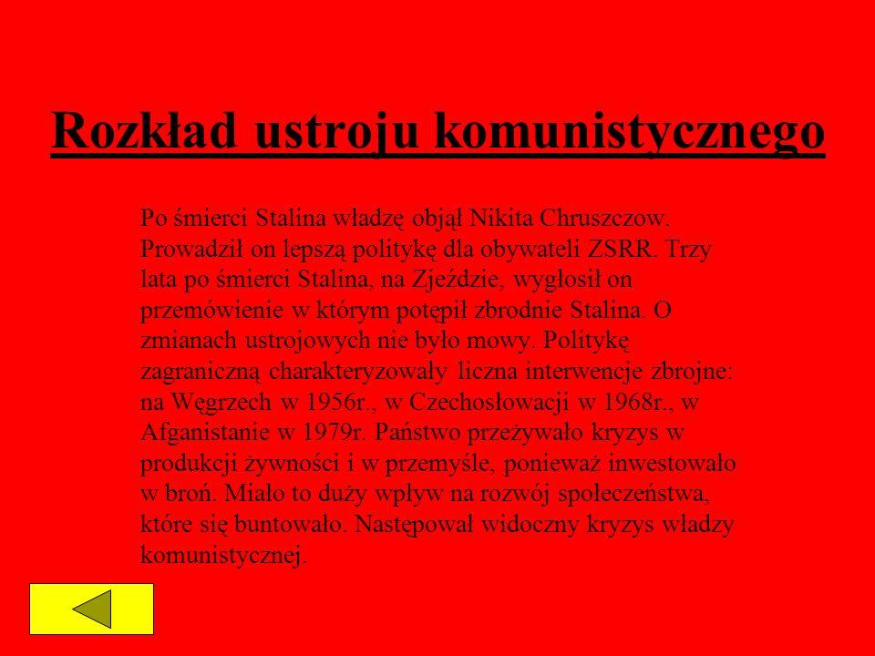 Rozkład ustroju komunistycznego Po śmierci Stalina władzę objął Nikita Chruszczow. Prowadził on lepszą politykę dla obywateli ZSRR. Trzy lata po śmier