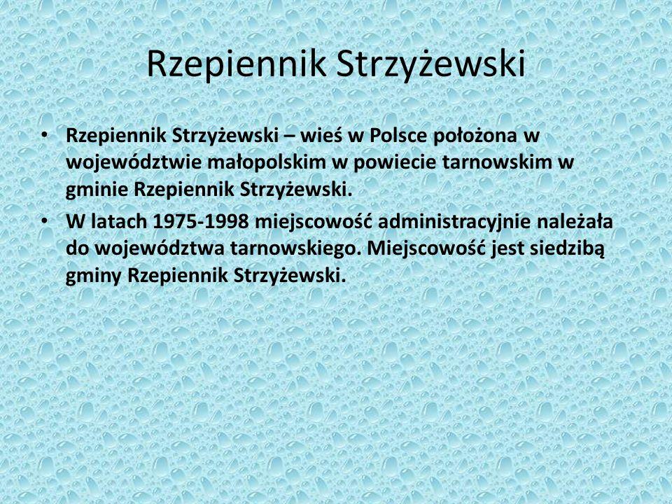 Rzepiennik Strzyżewski Państwo :Polska Województwo: małopolskie Powiat: tarnowski Gmina: Rzepiennik Strzyżewski Liczba ludności (2006): 1324 Strefa numeracyjna :(+48) 14 Kod pocztowy: 33-163 Tablice rejestracyjne: KTA
