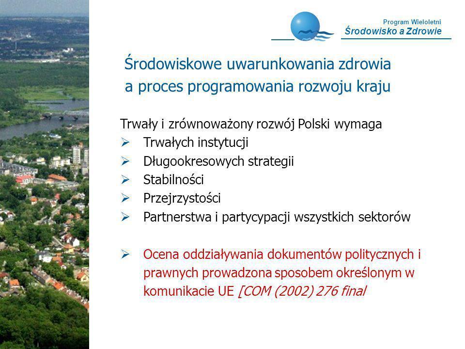 Program Wieloletni Środowisko a Zdrowie Trwały i zrównoważony rozwój Polski wymaga Trwałych instytucji Długookresowych strategii Stabilności Przejrzys