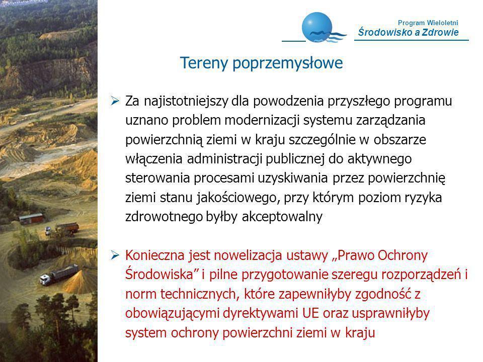 Program Wieloletni Środowisko a Zdrowie Tereny poprzemysłowe Za najistotniejszy dla powodzenia przyszłego programu uznano problem modernizacji systemu