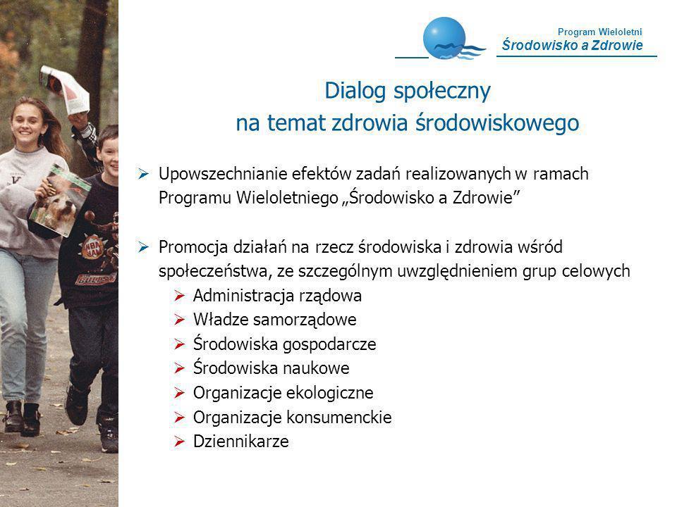 Program Wieloletni Środowisko a Zdrowie Dialog społeczny na temat zdrowia środowiskowego Upowszechnianie efektów zadań realizowanych w ramach Programu