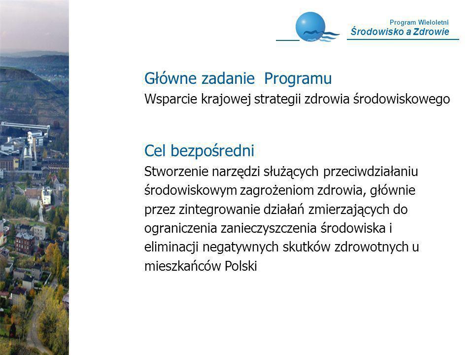 Program Wieloletni Środowisko a Zdrowie Cel bezpośredni Stworzenie narzędzi służących przeciwdziałaniu środowiskowym zagrożeniom zdrowia, głównie prze