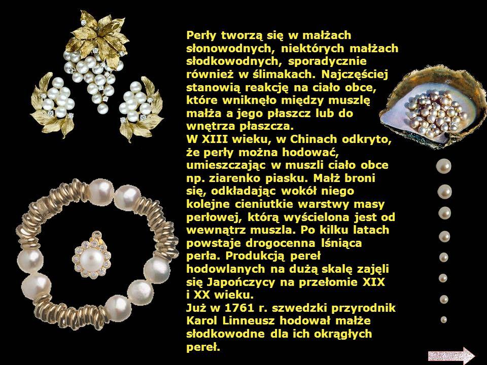Perły – wytwory małży (głównie z rodzaju Pteria – perłopławów), rzadko ślimaków. Zbudowane są z tej samej substancji co wewnętrzna strona muszli (masa