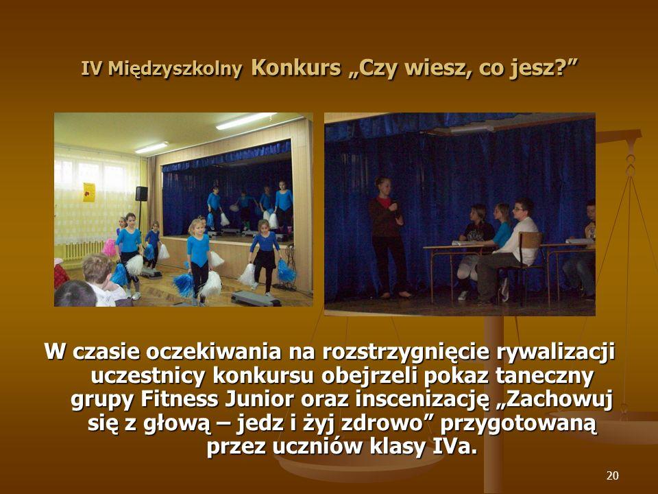 21 IV Międzyszkolny Konkurs Czy wiesz, co jesz?