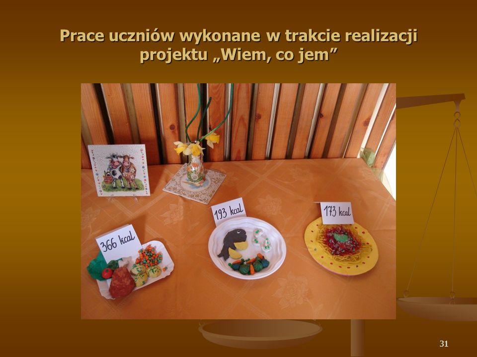 32 Prace uczniów wykonane w trakcie realizacji projektu Wiem, co jem