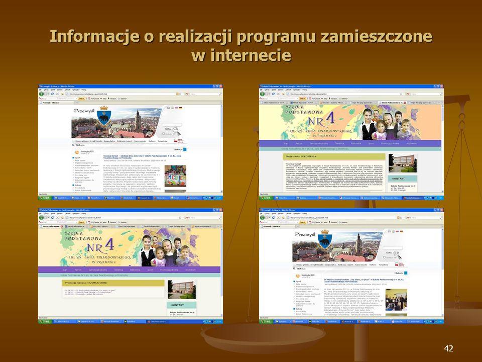 42 Informacje o realizacji programu zamieszczone w internecie