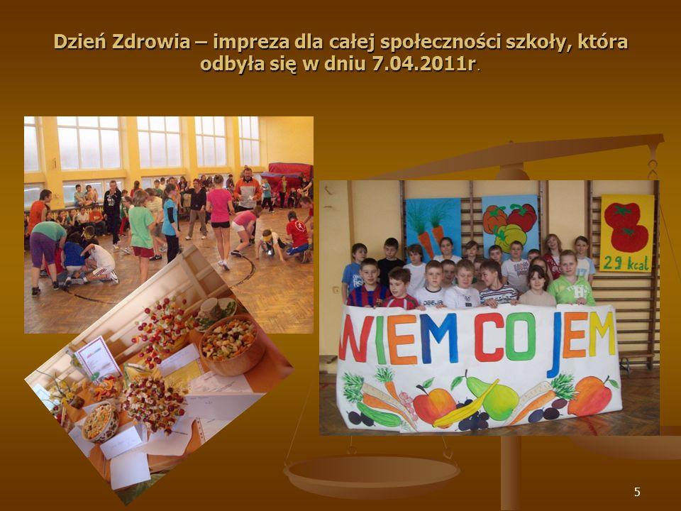 5 Dzień Zdrowia – impreza dla całej społeczności szkoły, która odbyła się w dniu 7.04.2011r.