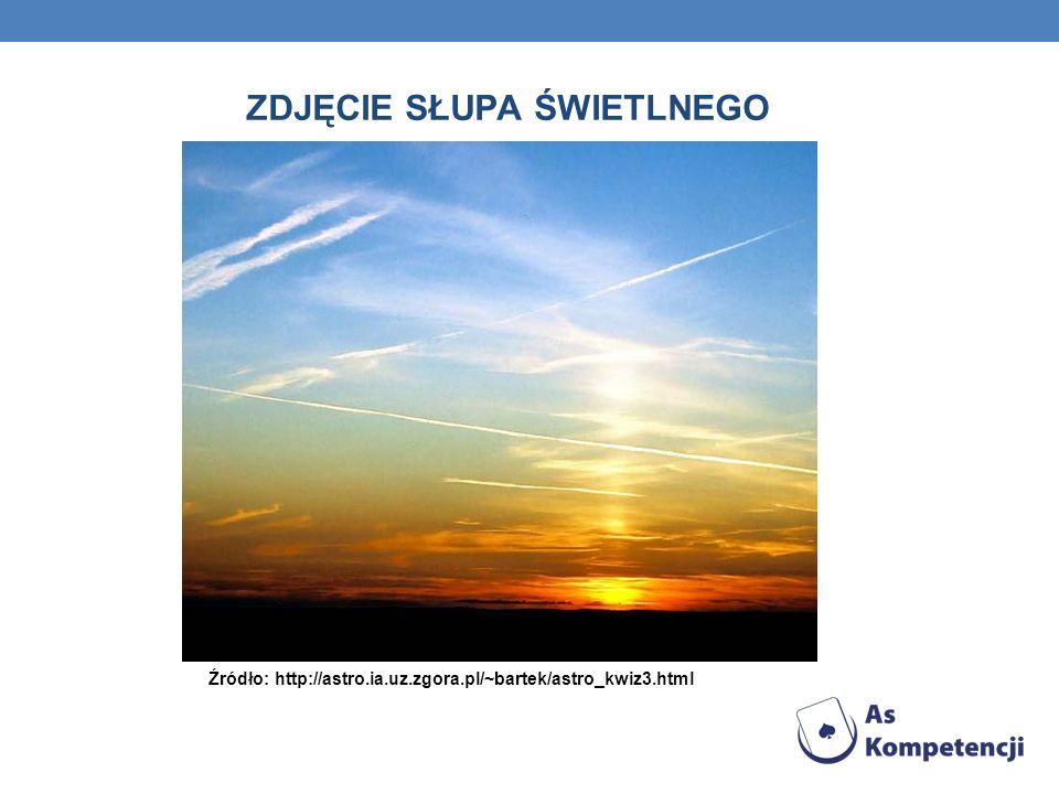 ZDJĘCIE SŁUPA ŚWIETLNEGO Źródło: http://astro.ia.uz.zgora.pl/~bartek/astro_kwiz3.html