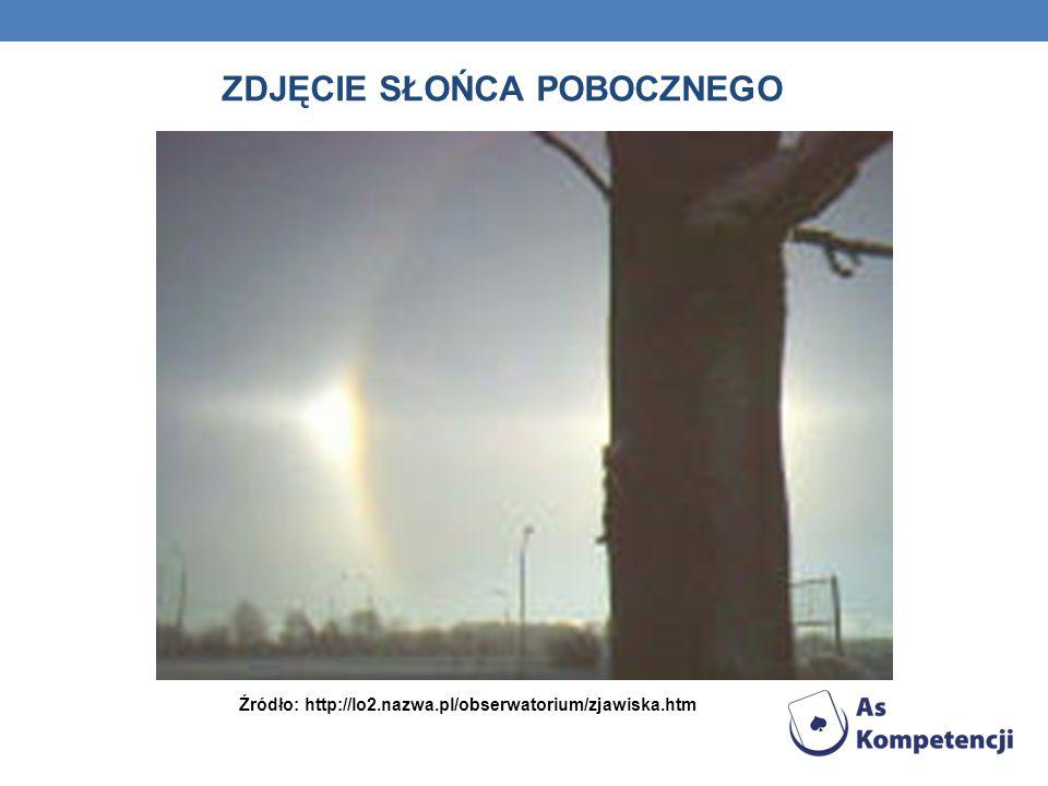 ZDJĘCIE SŁOŃCA POBOCZNEGO Źródło: http://lo2.nazwa.pl/obserwatorium/zjawiska.htm