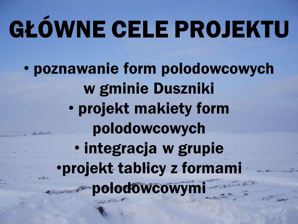 GŁÓWNE CELE PROJEKTU poznawanie form polodowcowych w gminie Duszniki projekt makiety form polodowcowych integracja w grupie projekt tablicy z formami
