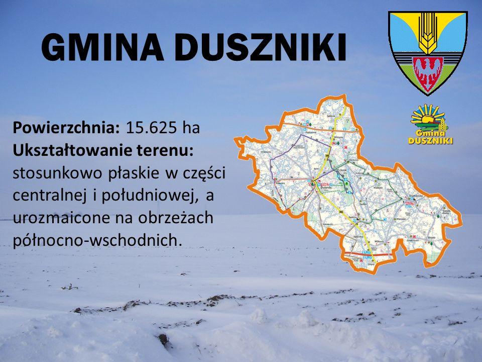 GMINA DUSZNIKI Powierzchnia: 15.625 ha Ukształtowanie terenu: stosunkowo płaskie w części centralnej i południowej, a urozmaicone na obrzeżach północn