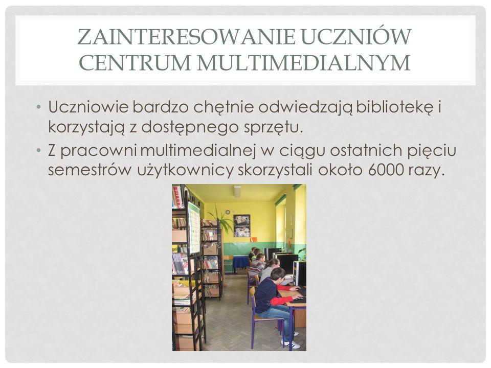ZAINTERESOWANIE UCZNIÓW CENTRUM MULTIMEDIALNYM Uczniowie bardzo chętnie odwiedzają bibliotekę i korzystają z dostępnego sprzętu. Z pracowni multimedia