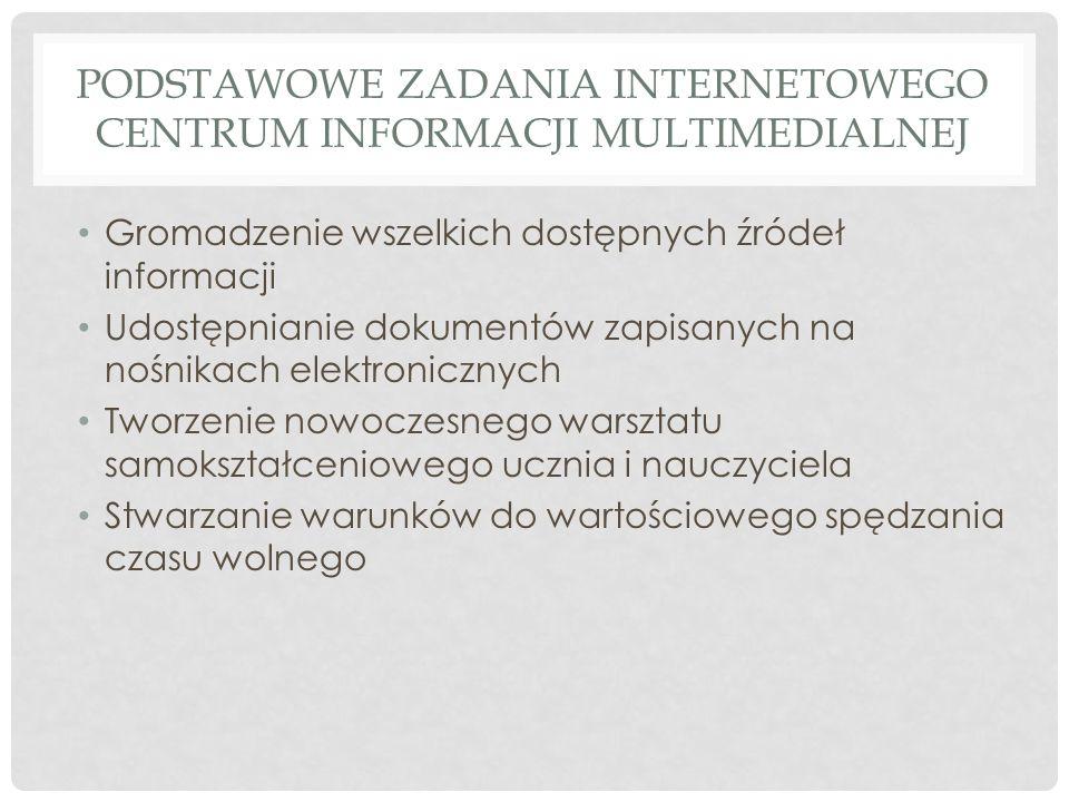 PODSTAWOWE ZADANIA INTERNETOWEGO CENTRUM INFORMACJI MULTIMEDIALNEJ Gromadzenie wszelkich dostępnych źródeł informacji Udostępnianie dokumentów zapisan