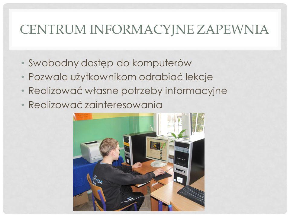 CENTRUM INFORMACYJNE ZAPEWNIA Swobodny dostęp do komputerów Pozwala użytkownikom odrabiać lekcje Realizować własne potrzeby informacyjne Realizować za