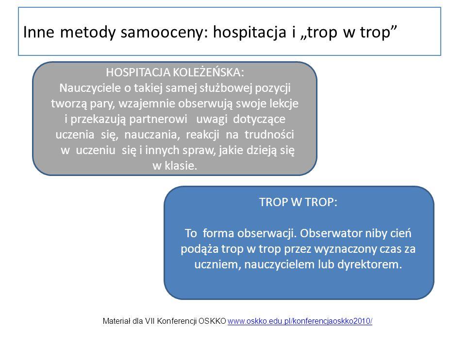 Inne metody samooceny: hospitacja i trop w trop HOSPITACJA KOLEŻEŃSKA: Nauczyciele o takiej samej służbowej pozycji tworzą pary, wzajemnie obserwują s