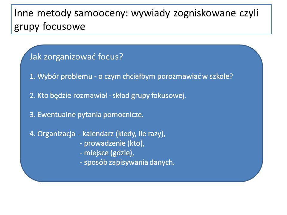 Inne metody samooceny: wywiady zogniskowane czyli grupy focusowe Jak zorganizować focus? 1. Wybór problemu - o czym chciałbym porozmawiać w szkole? 2.