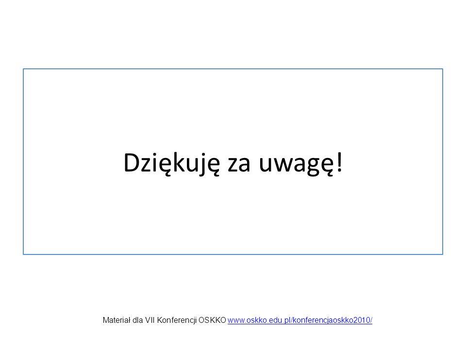 Dziękuję za uwagę! Materiał dla VII Konferencji OSKKO www.oskko.edu.pl/konferencjaoskko2010/www.oskko.edu.pl/konferencjaoskko2010/