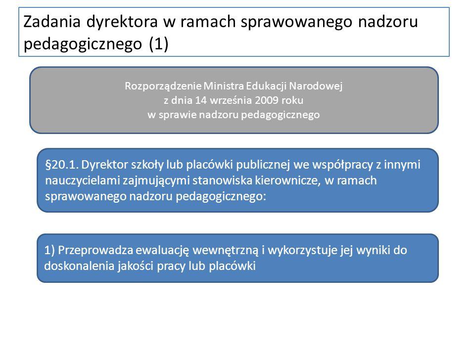 Zadania dyrektora w ramach sprawowanego nadzoru pedagogicznego (1) Rozporządzenie Ministra Edukacji Narodowej z dnia 14 września 2009 roku w sprawie n