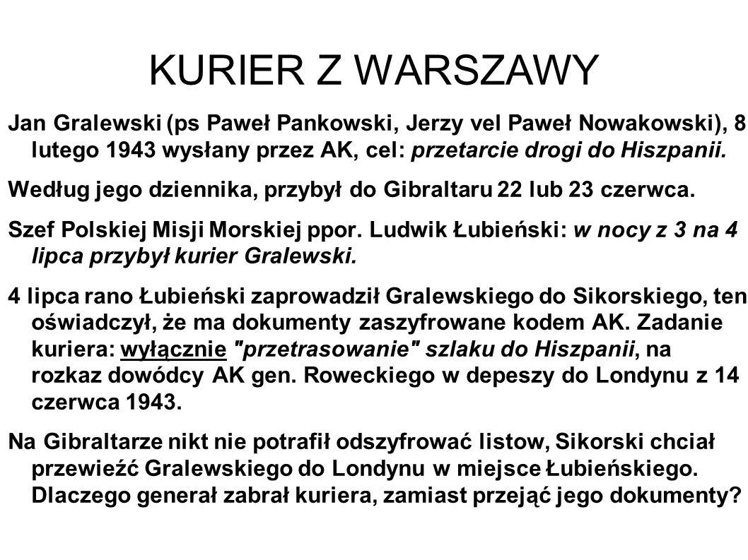 KURIER Z WARSZAWY Jan Gralewski (ps Paweł Pankowski, Jerzy vel Paweł Nowakowski), 8 lutego 1943 wysłany przez AK, cel: przetarcie drogi do Hiszpanii.