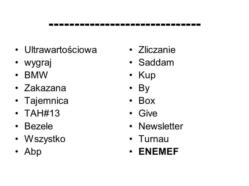 ------------------------------ Ultrawartościowa wygraj BMW Zakazana Tajemnica TAH#13 Bezele Wszystko Abp Zliczanie Saddam Kup By Box Give Newsletter Turnau ENEMEF