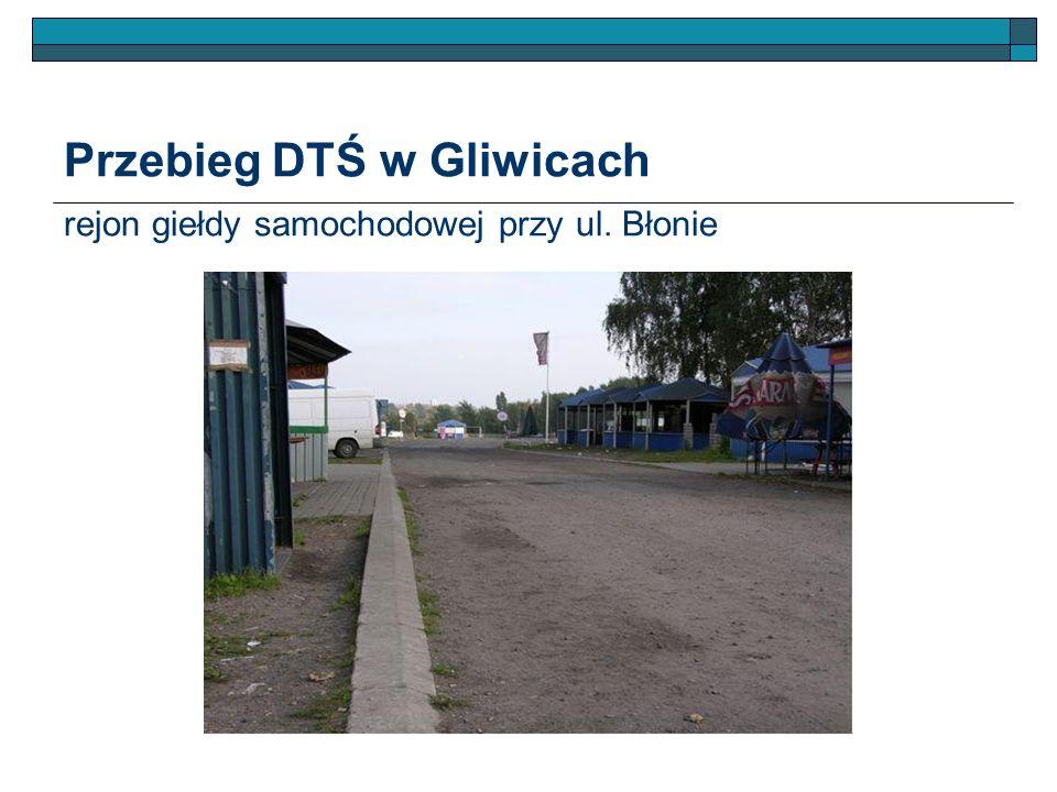 Przebieg DTŚ w Gliwicach rejon giełdy samochodowej przy ul. Błonie