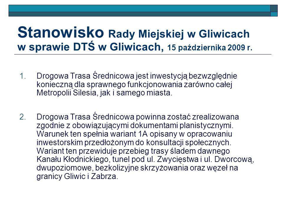 Stanowisko Rady Miejskiej w Gliwicach w sprawie DTŚ w Gliwicach, 15 października 2009 r. Drogowa Trasa Średnicowa jest inwestycją bezwzględnie koniecz