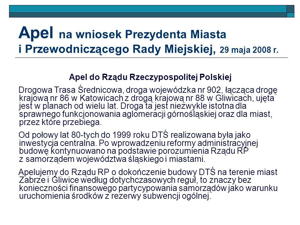 Apel do Rządu Rzeczypospolitej Polskiej Drogowa Trasa Średnicowa, droga wojewódzka nr 902, łącząca drogę krajową nr 86 w Katowicach z drogą krajową nr