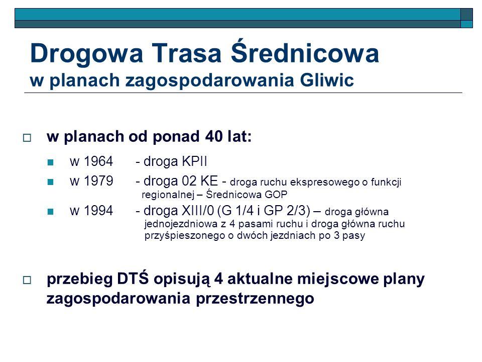 Drogowa Trasa Średnicowa w planach zagospodarowania Gliwic w planach od ponad 40 lat: w 1964- droga KPII w 1979- droga 02 KE - droga ruchu ekspresoweg